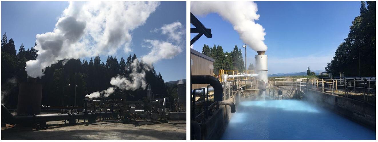 生産井(左) 還元熱水ピット(右)
